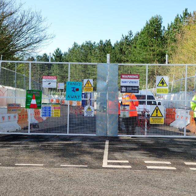 """""""Daneshill Anti-Fracking Community Blockade,UK."""" stock image"""