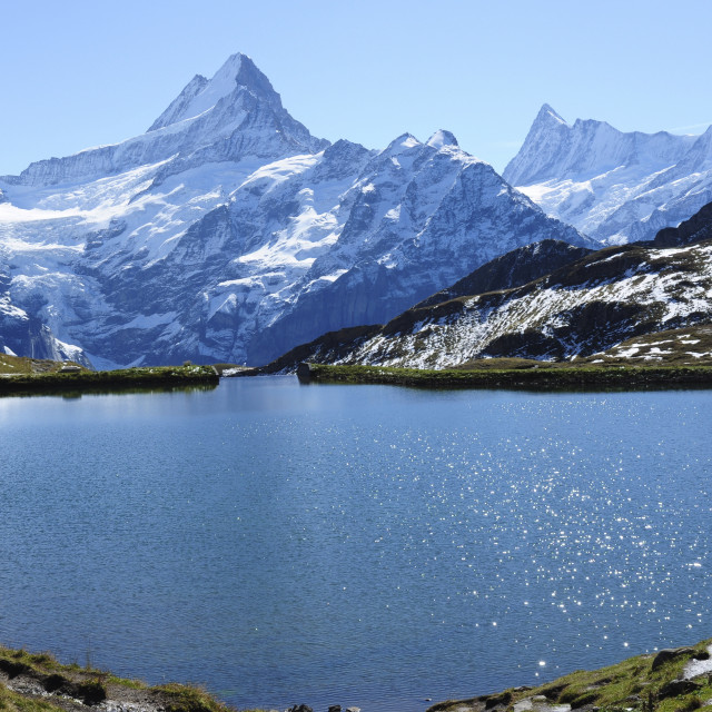"""Mountain Lake and Peaks, Switzerland"" stock image"