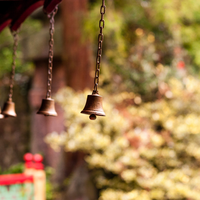 """Japanese prayer bells"" stock image"