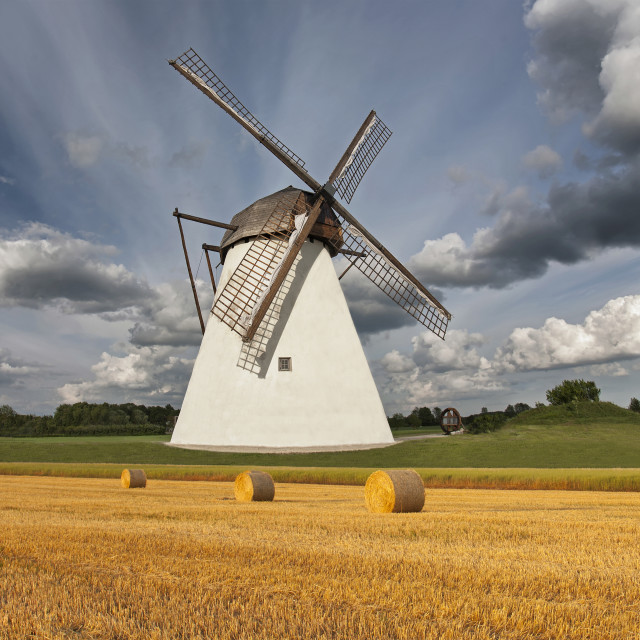 """""""Old windmill by cornfield"""" stock image"""