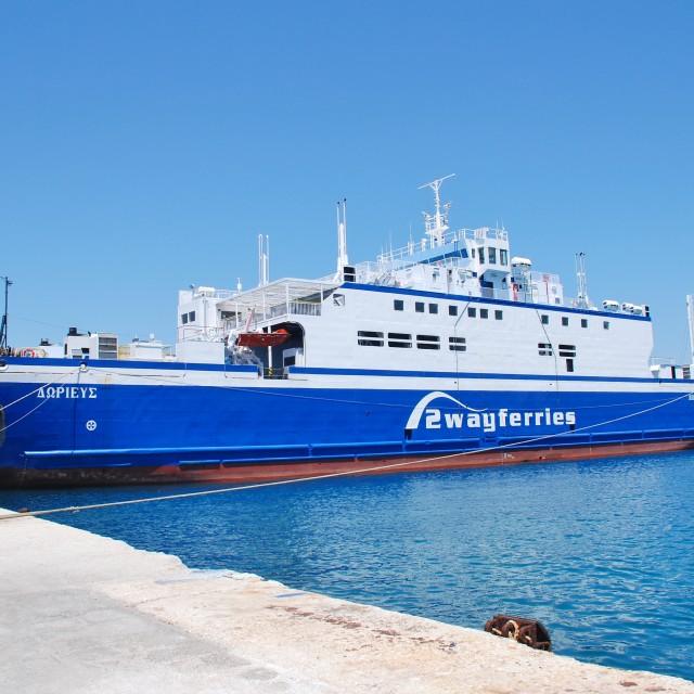 """""""Dorieus ferry, Corfu"""" stock image"""