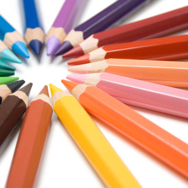 """""""Circle of Colored Pencils"""" stock image"""