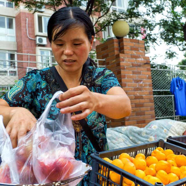 """Selling fruit"" stock image"