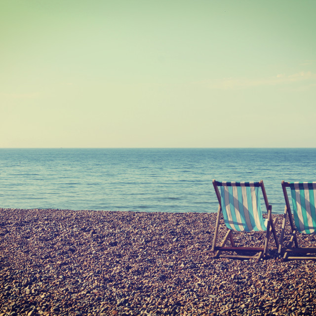 """Two Deckchairs"" stock image"