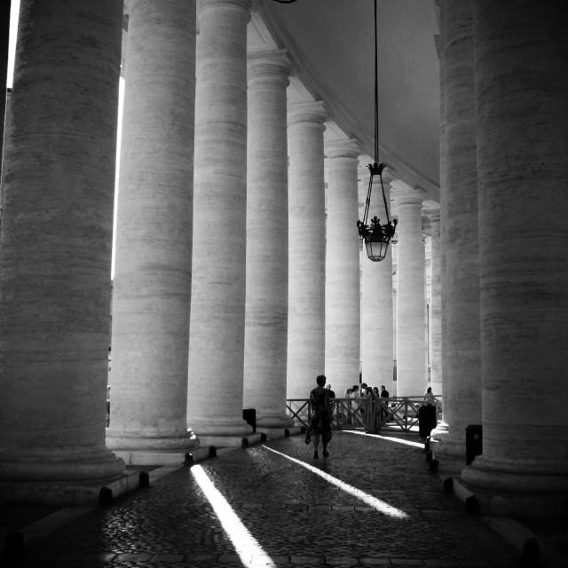 """Pillars, Piazza San Pietro I"" stock image"