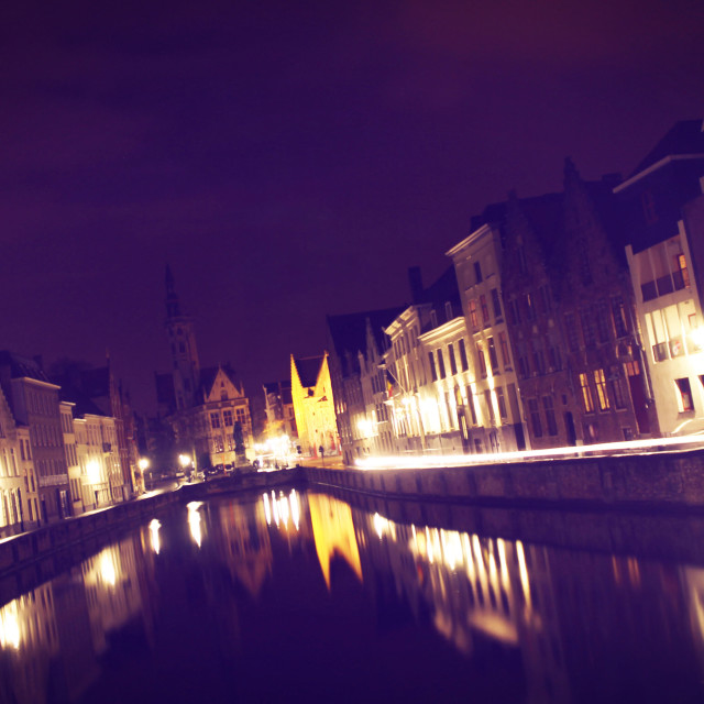 """Bruges by Night I"" stock image"