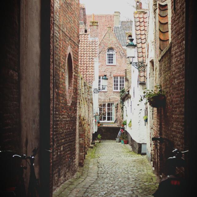 """""""Street, Bruges"""" stock image"""