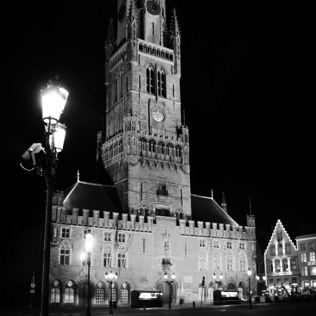 """Belfort by Night, Bruges"" stock image"