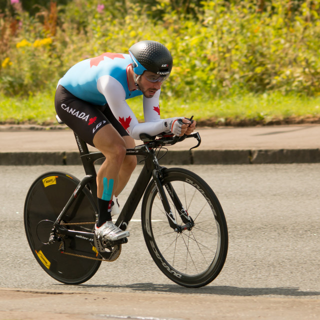 """Glasgow commonwealth games cyclist"" stock image"