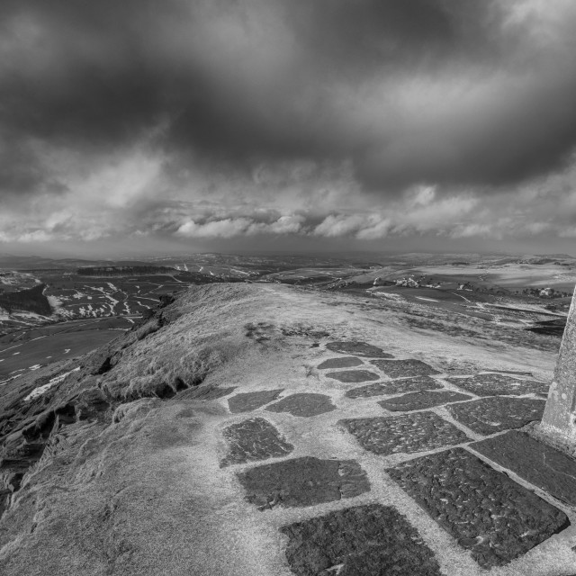 """Shutlingsloe summit mono"" stock image"