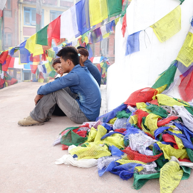 """Pile of prayer flags!"" stock image"