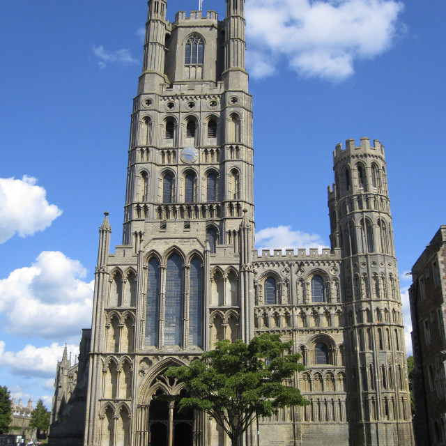 """Ely Cathedral - West Tower"" stock image"