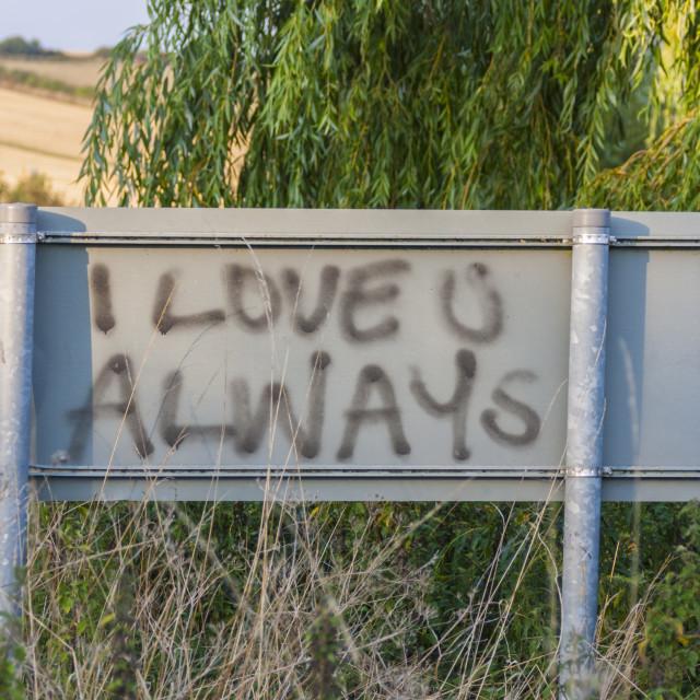"""I love you road sign graffiti"" stock image"