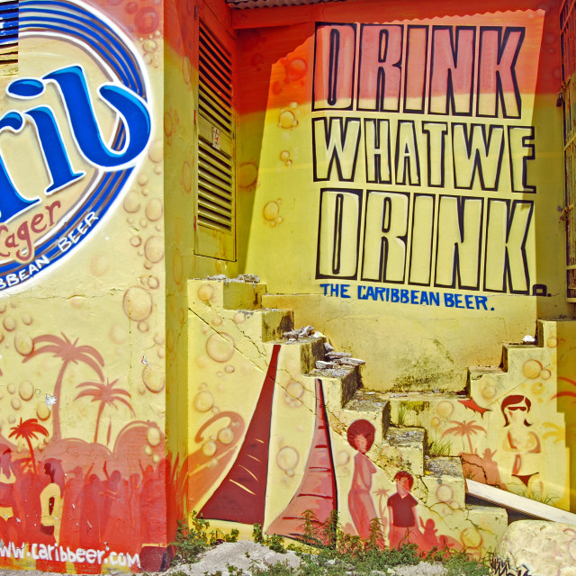 """Carib Lager Wall Mural Advert"" stock image"
