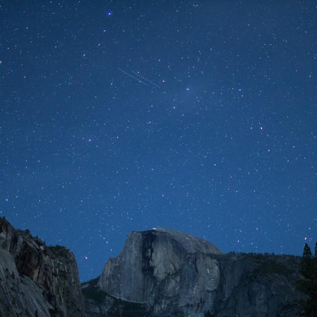 """Eta Aquariids fireball and twin meteors over Half Dome"" stock image"
