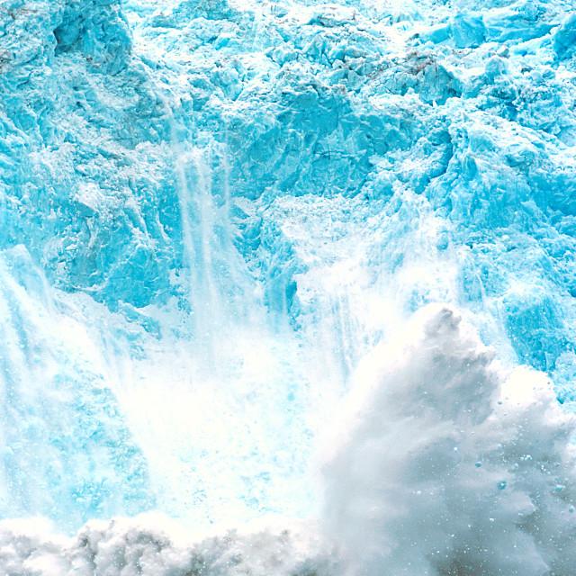 """Holgate Glacier calving, Alaska, Kenai Fjords National Park, nea"" stock image"