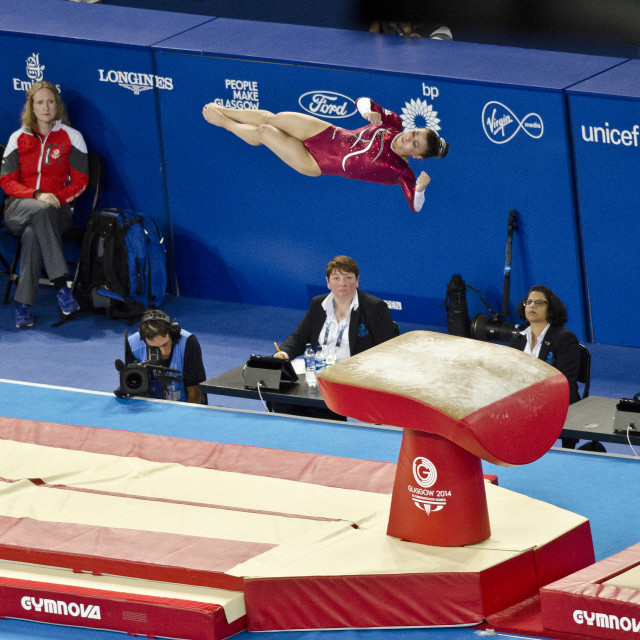 """Claudia Fragapane vaulting to Gold"" stock image"
