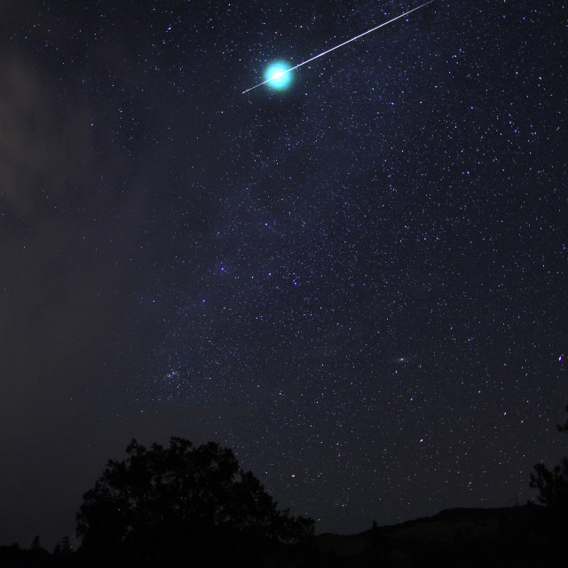 """Meteor fireball explodes in a flash, Oregon, Cascade Siskiyou Na"" stock image"