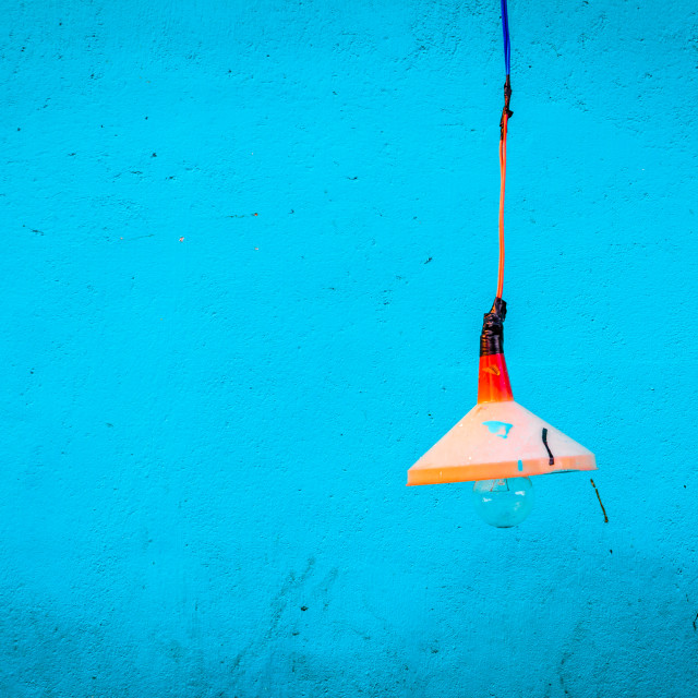 """""""Light off on blue wall"""" stock image"""