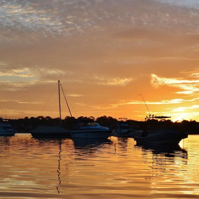 """""""Golden Sunser on The Bay"""" stock image"""
