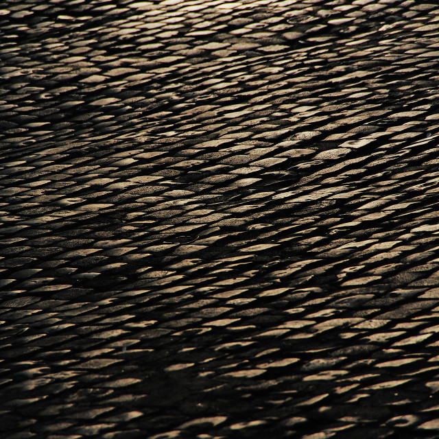 """""""Cobbled street glowing in the evening"""" stock image"""
