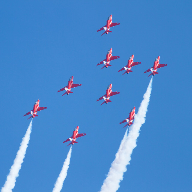 """The RAF Red Arrows Display Team at Sunderland, 2014"" stock image"
