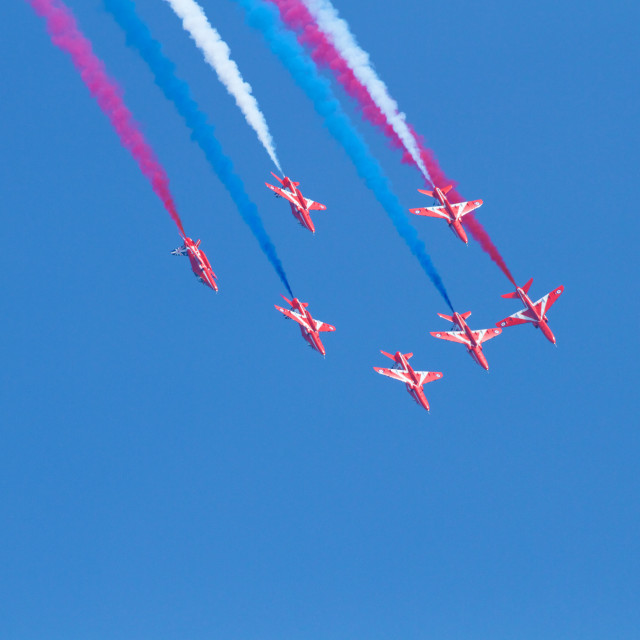 """""""The RAF Red Arrows Display Team at Sunderland, 2014"""" stock image"""