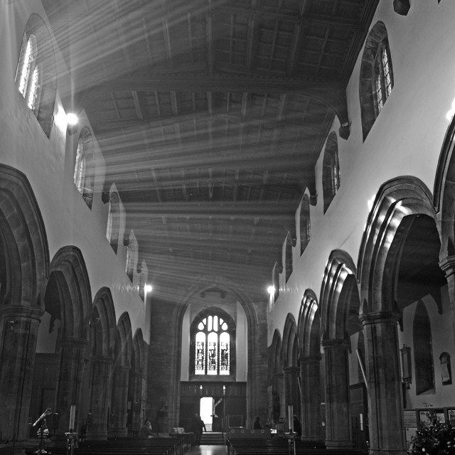 """Bangor Cathedral, North Wales"" stock image"