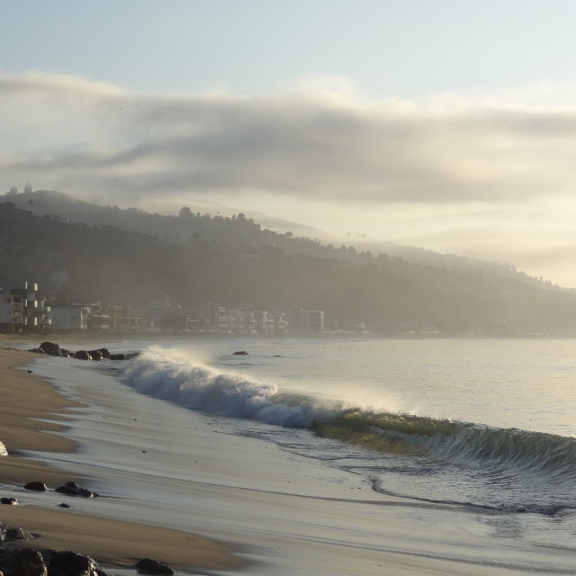 """Misty Dawn at Malibu"" stock image"