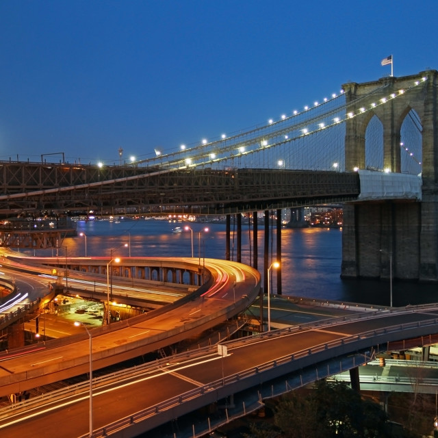 """Traffic under Brooklyn Bridge"" stock image"
