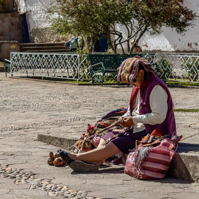 """Backstrap Weaving in Cusco"" stock image"