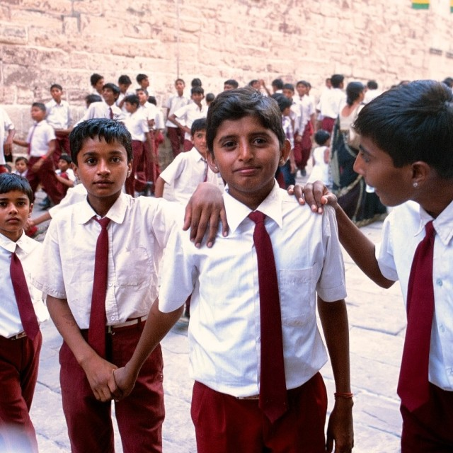 """Indian School boys in Jodhpur"" stock image"