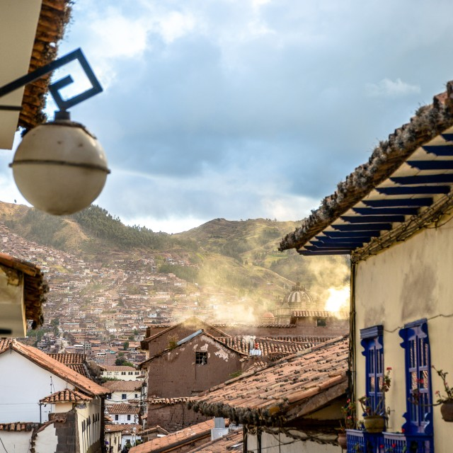 """Cusco rooftops"" stock image"
