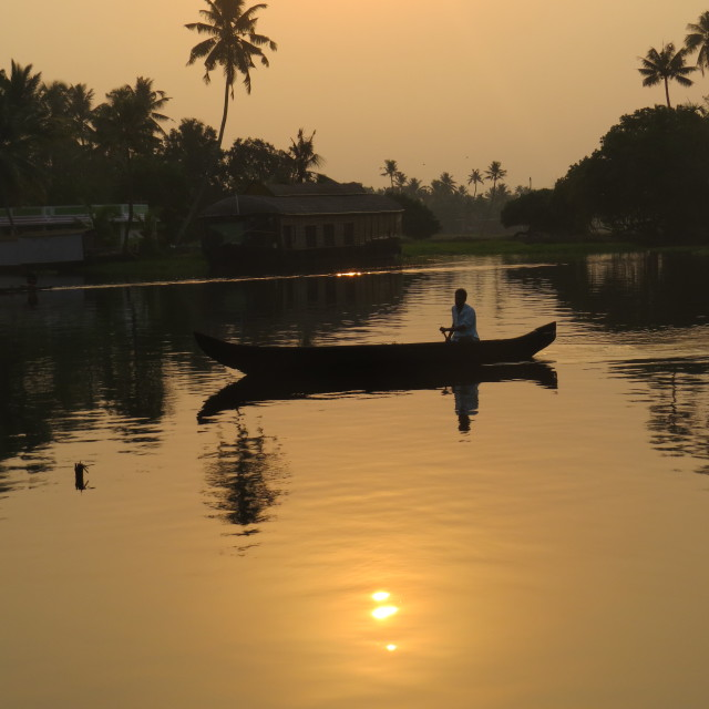 """Sunrise on the backwaters"" stock image"