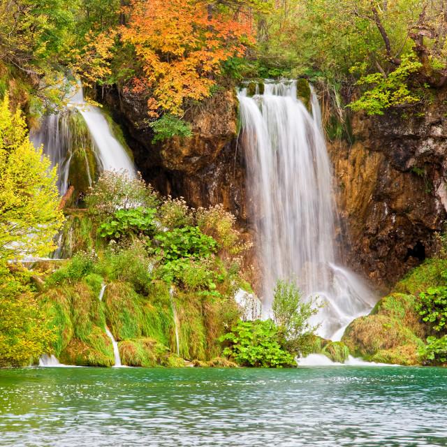 """Waterfalls in Autumn Scenery"" stock image"