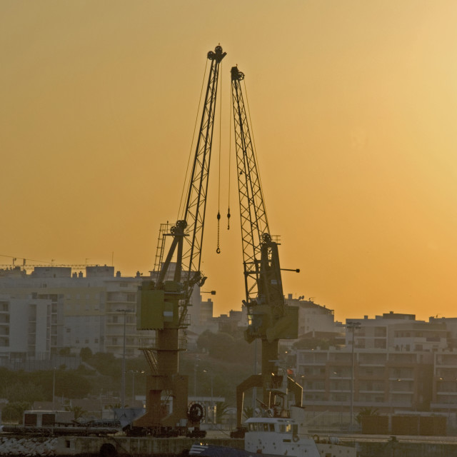 """Two Dockyard Cranes"" stock image"