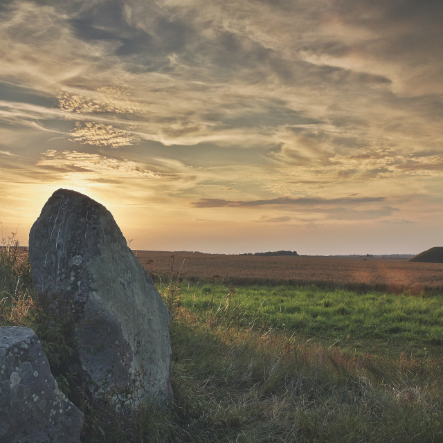 """Sunset at a Long Barrow"" stock image"