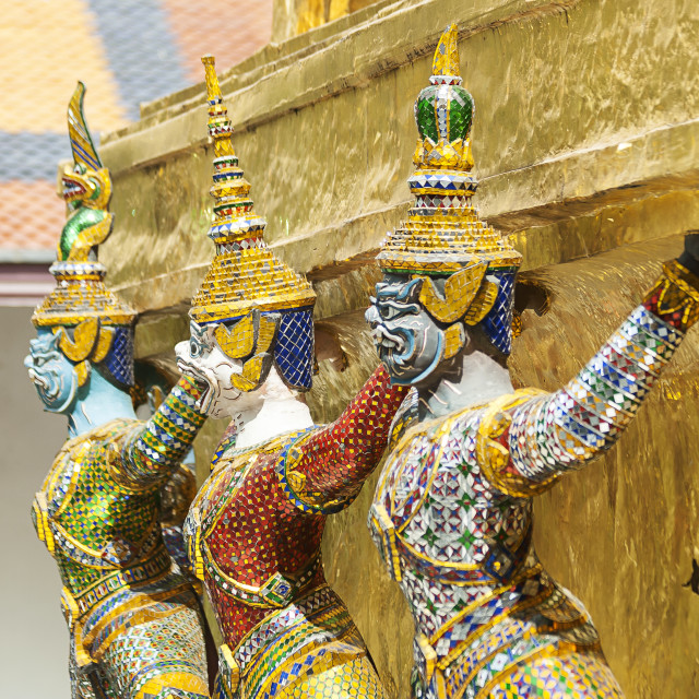 """Bangkok, Grand Palace, Green Demon Guards statues"" stock image"