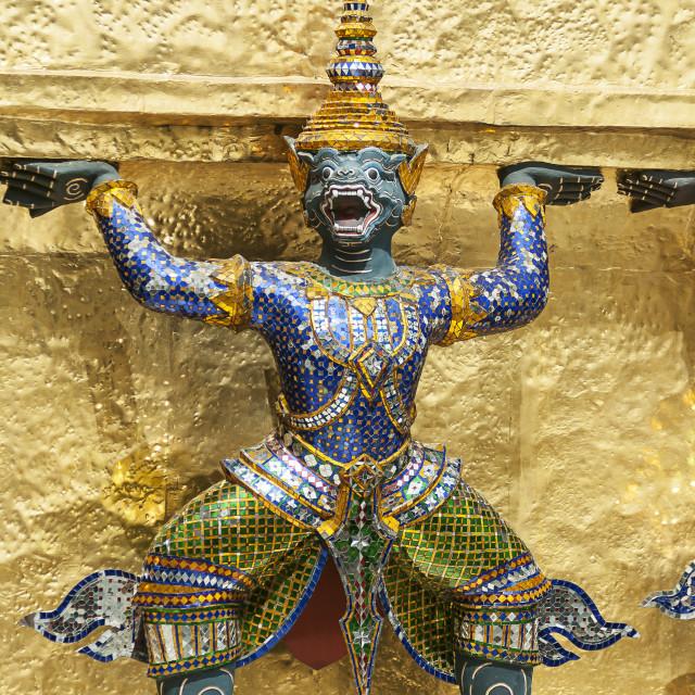 """Bangkok, Grand Palace, Green Demon Guards statue"" stock image"