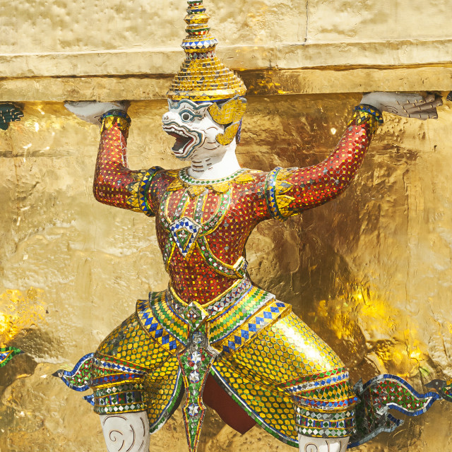 """Bangkok, Grand Palace, Green Demon Guards statue"" stock image"