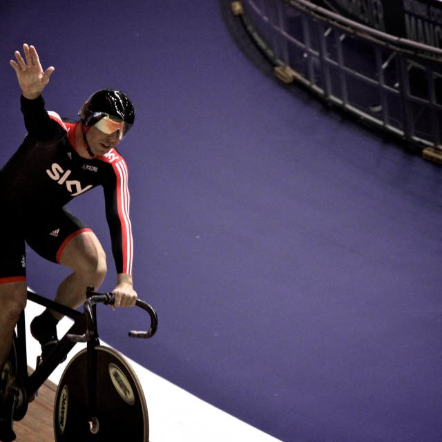 """Chris Hoy waving"" stock image"