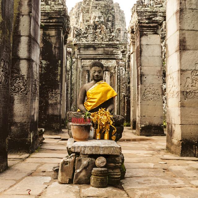 """""""Buddha At Bayon Temple, Angkor Thom, Cambodia"""" stock image"""
