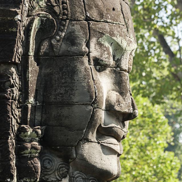 """""""Carved Head At Bayon Temple, Angkor Thom, Cambodia"""" stock image"""
