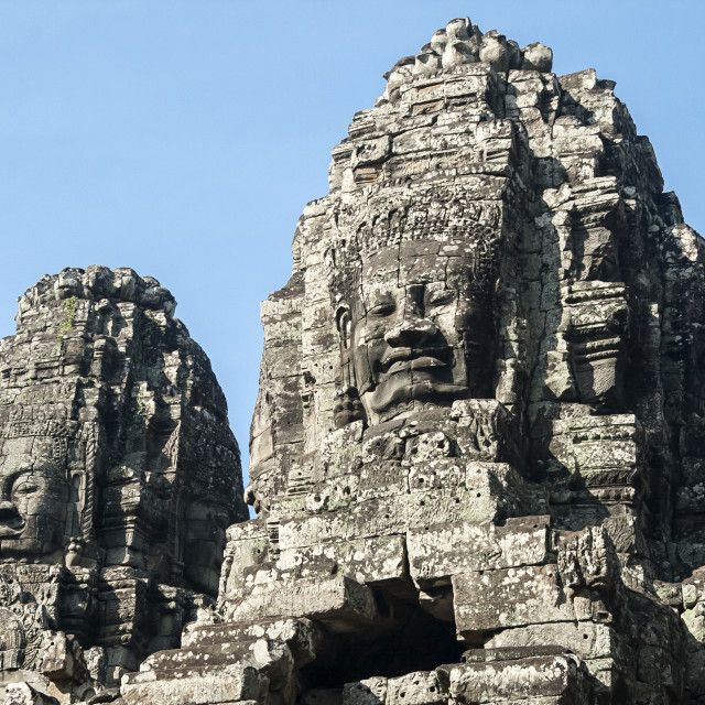 """Carved Heads At Bayon Temple, Angkor Thom, Cambodia"" stock image"