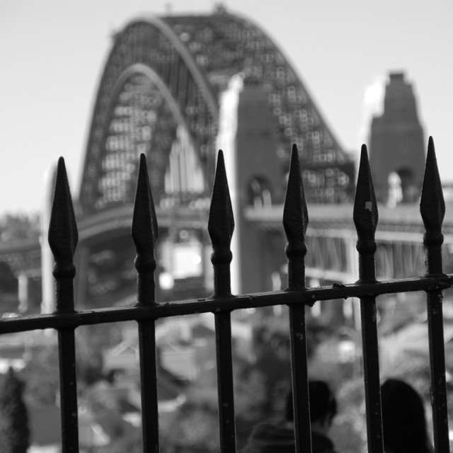 """Through the railings"" stock image"