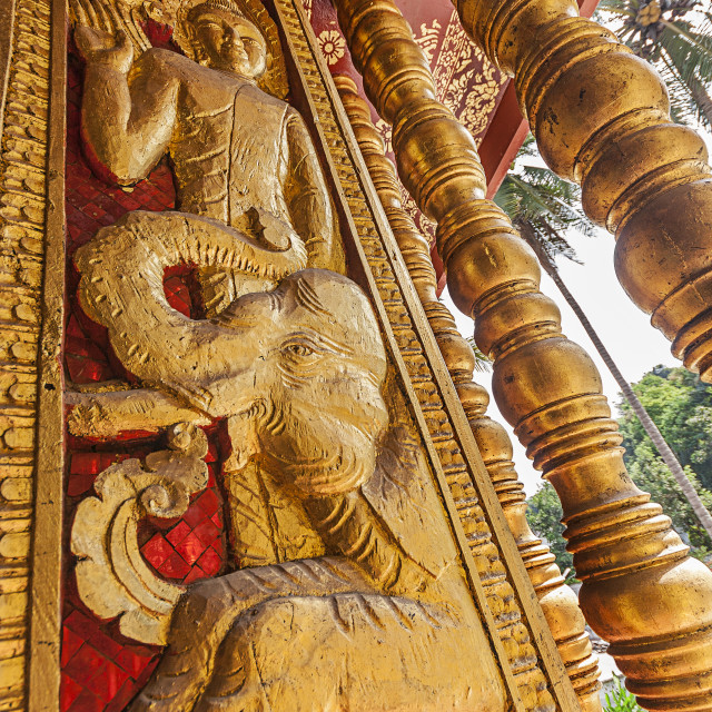 """Temple Carving, Luang Prabang Laos"" stock image"