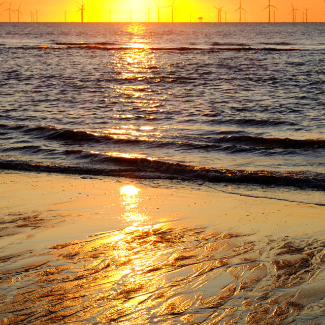 """Sunrise Skegness Beach ."" stock image"