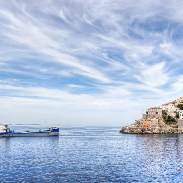 """Hydra island and ship in Greece"" stock image"