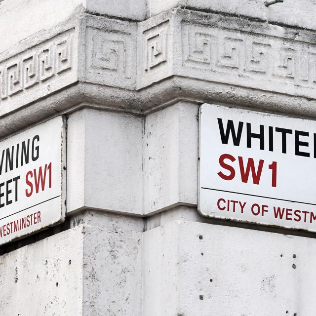"""Downing Street Whitehall. London"" stock image"