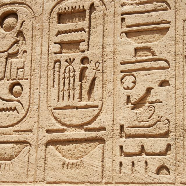 """Hieroglyphics At Abu Simbel, Egypt"" stock image"